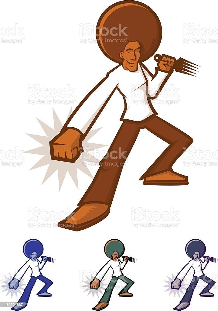 Afro Man vector art illustration