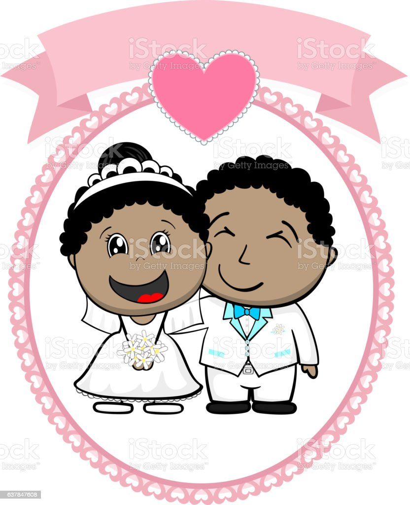 afroamerican bride and groom vector art illustration