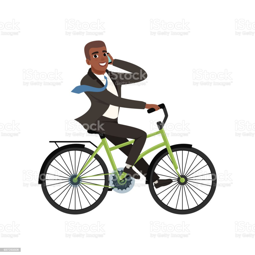 ilustração de afroamericano empresário andando de bicicleta e
