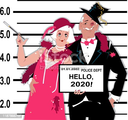 Senior couple dressed in 1920s fashion stands for a mug shot at the police station, holding Hello 2020 tablet, EPS 8 vector illustration