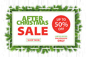 After Christmas Sale Branches Horizontal Background - Vector Illustration