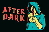 After Dark aiming with pistol in front view isolated vector illustration