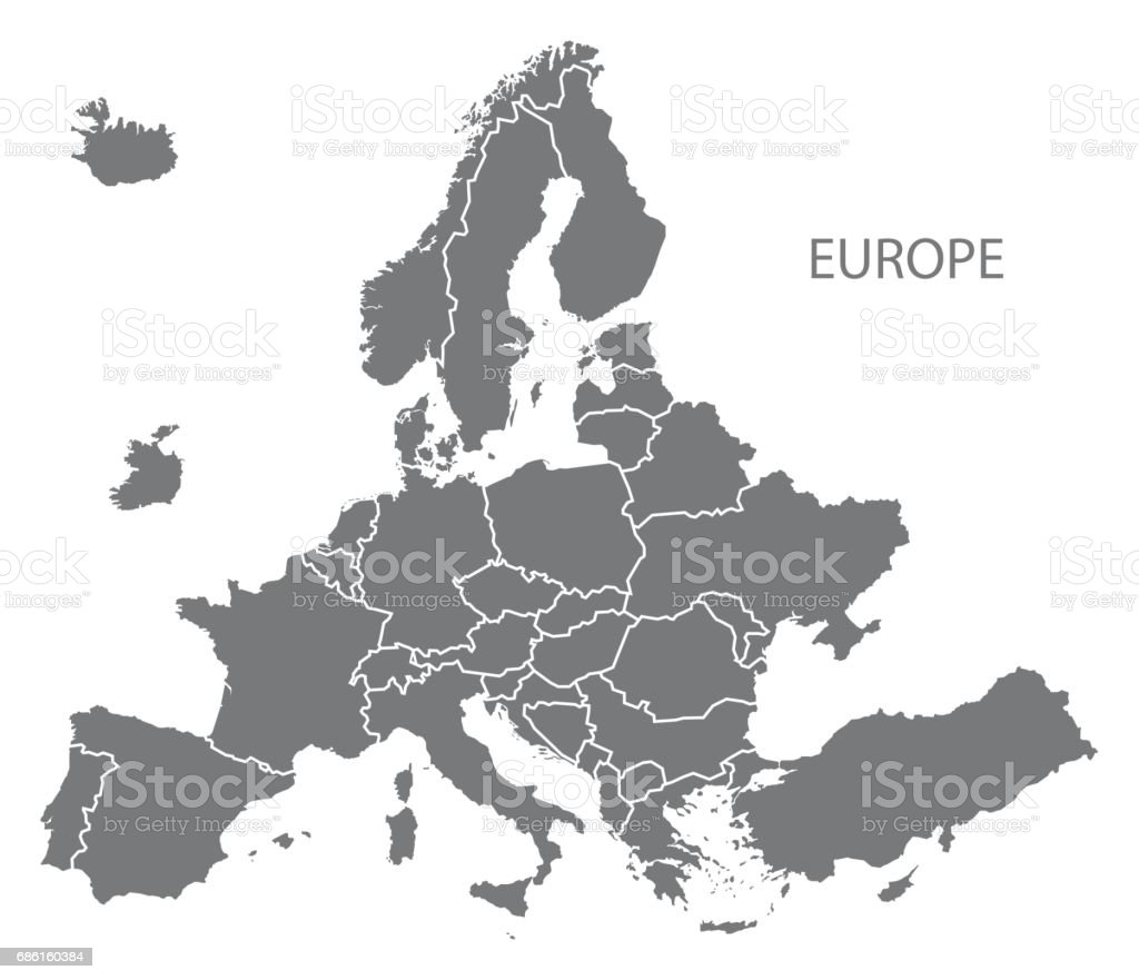 NEW EUROPEAN MAP after exit of Britain with all countries in grey vector art illustration