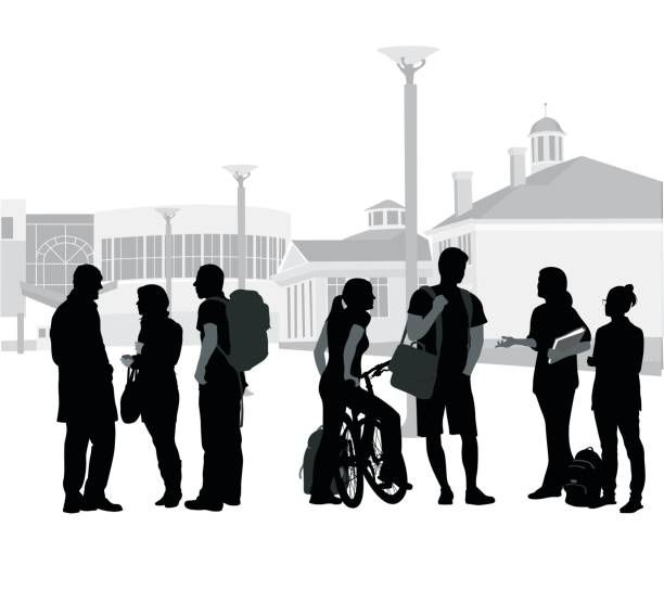 After Lecture Silhouette vector illustration of a crowd of students with a school or college in the background architecture silhouettes stock illustrations