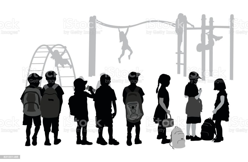 After School Playground vector art illustration