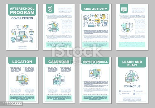 After school program brochure template layout. Afterschool activities. Learn and play. Flyer, booklet, leaflet print design with linear illustrations. Vector pages for magazines, reports, posters
