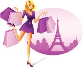 Beautiful Woman with Shopping Bags. High Resolution JPG and Illustrator 0.8 EPS included.