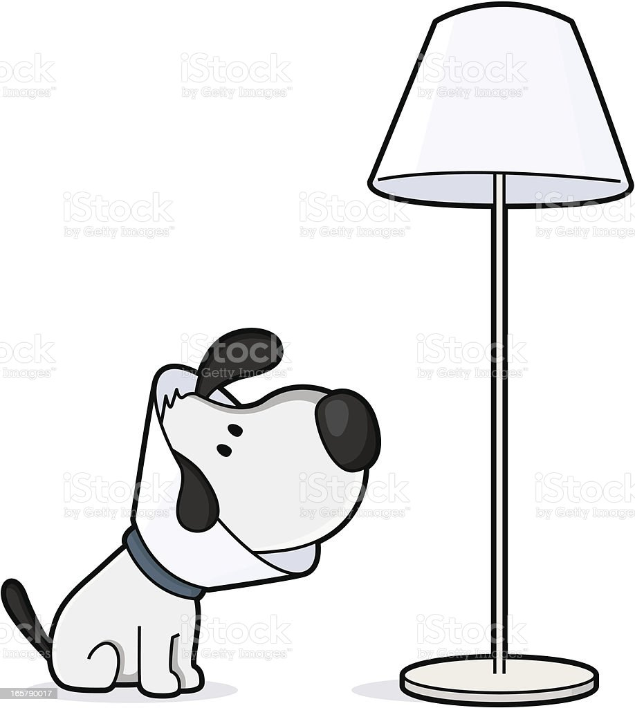 After the veterinarian, dog looks like a lamp vector art illustration