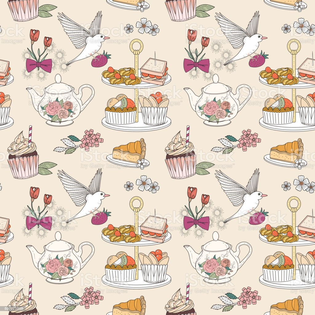 Afternoon tea seamless pattern Lizenzfreies afternoon tea seamless pattern stock vektor art und mehr bilder von abstrakt
