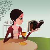 a lady enjoying an afternoon tea and book at outdoor.