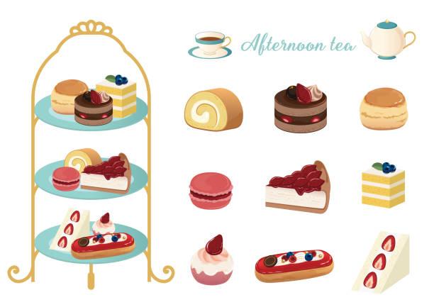 zestaw ilustracji wektorowych podwieczorku - ciasto stock illustrations