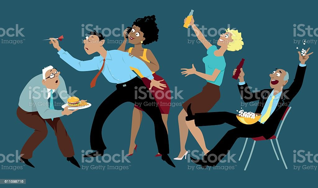 After-work party vector art illustration