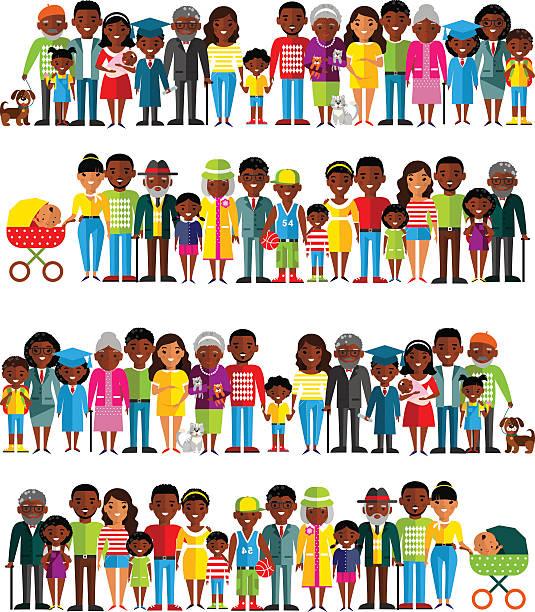 年齢グループのアフリカ系アメリカ人。世代の男性と女性。 - 祖父母点のイラスト素材/クリップアート素材/マンガ素材/アイコン素材
