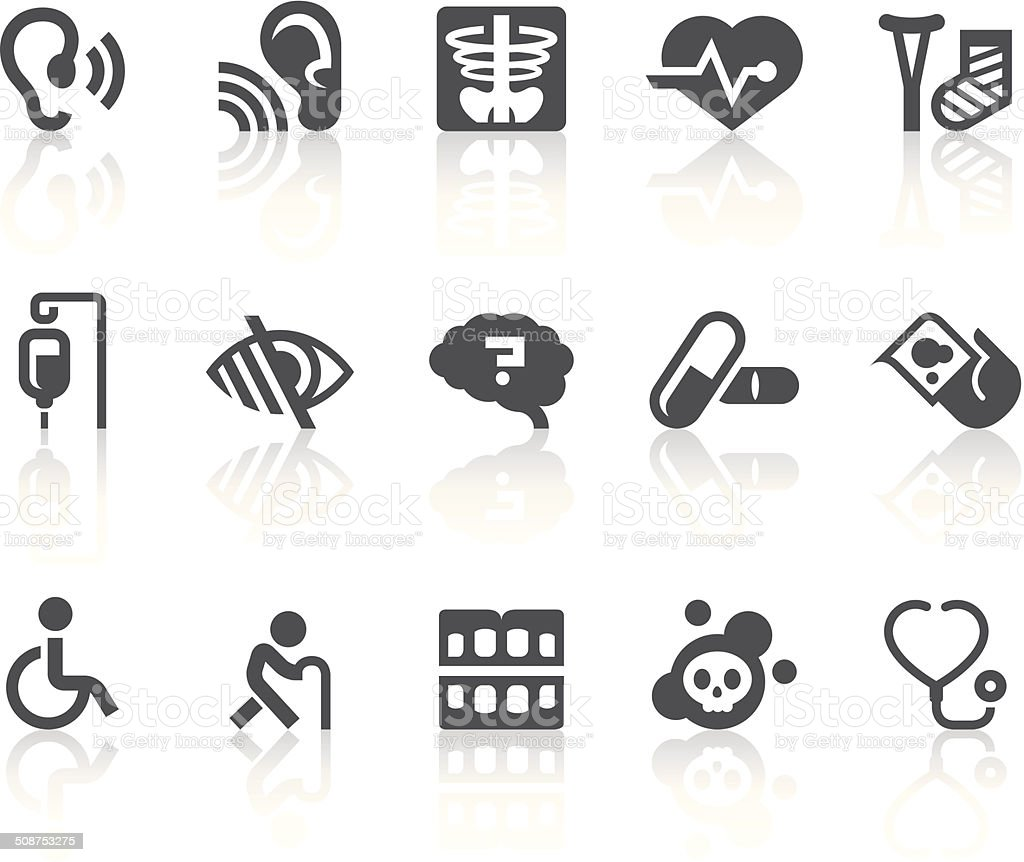 Age Related Diseases Icons | Simple Black Series vector art illustration