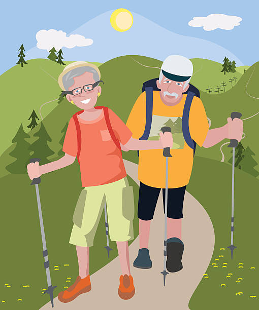aged couple hiking at hills - old man illustration pictures stock illustrations, clip art, cartoons, & icons