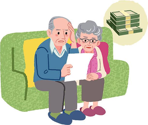 ilustrações de stock, clip art, desenhos animados e ícones de idoso casal sentado no sofá e verificando contas - bills couple