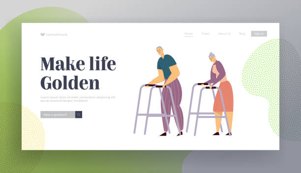 aged couple walking with walker on street. happy senior man and woman characters together. elderly people, old age concept website landing page, web page. cartoon flat vector illustration, banner - old man standing background stock illustrations, clip art, cartoons, & icons
