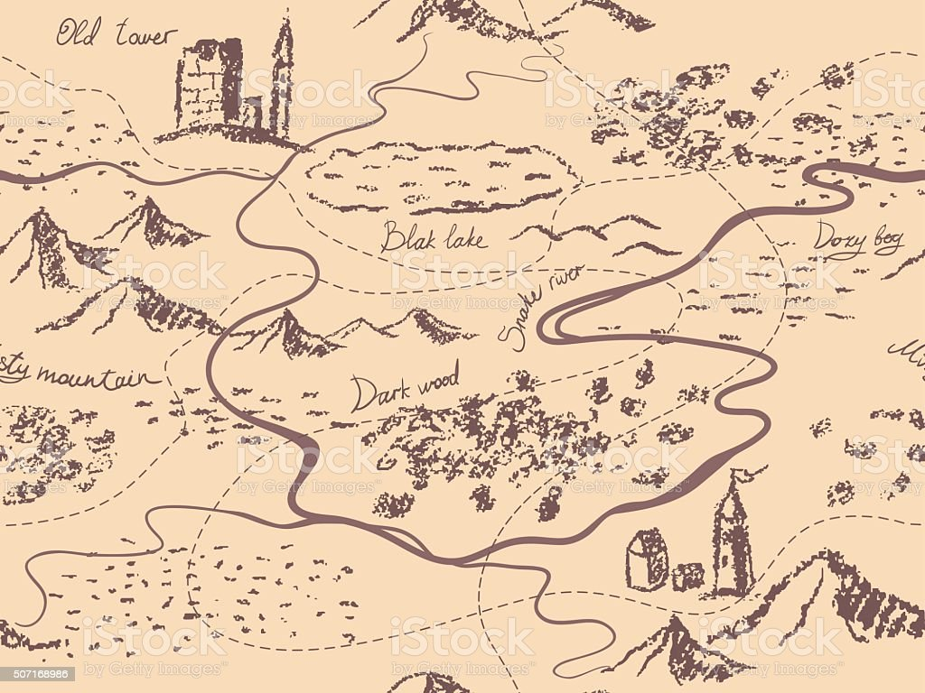 Aged fantasy vintage seamless map