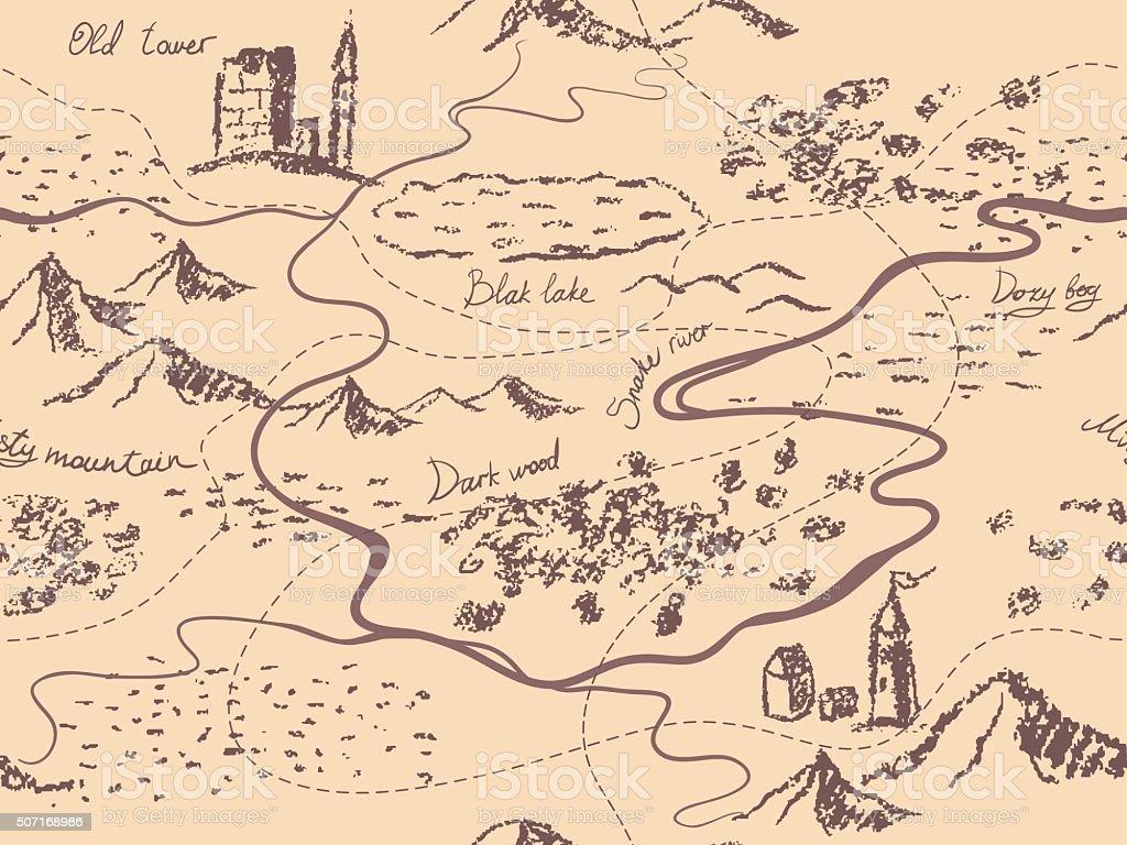 Aged fantasy vintage seamless map vector art illustration