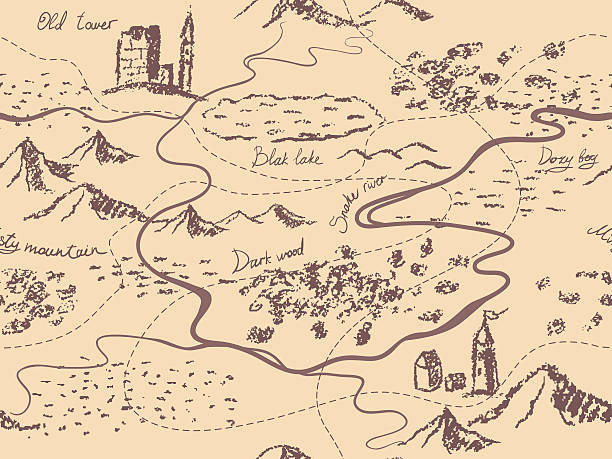 Aged fantasy vintage seamless map Mountains, buildings, trees, hills, river. Hand drawn fairytale historic treasure map. Seamless background, vector. adventure borders stock illustrations
