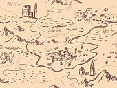 Aged fantasy vintage seamless map