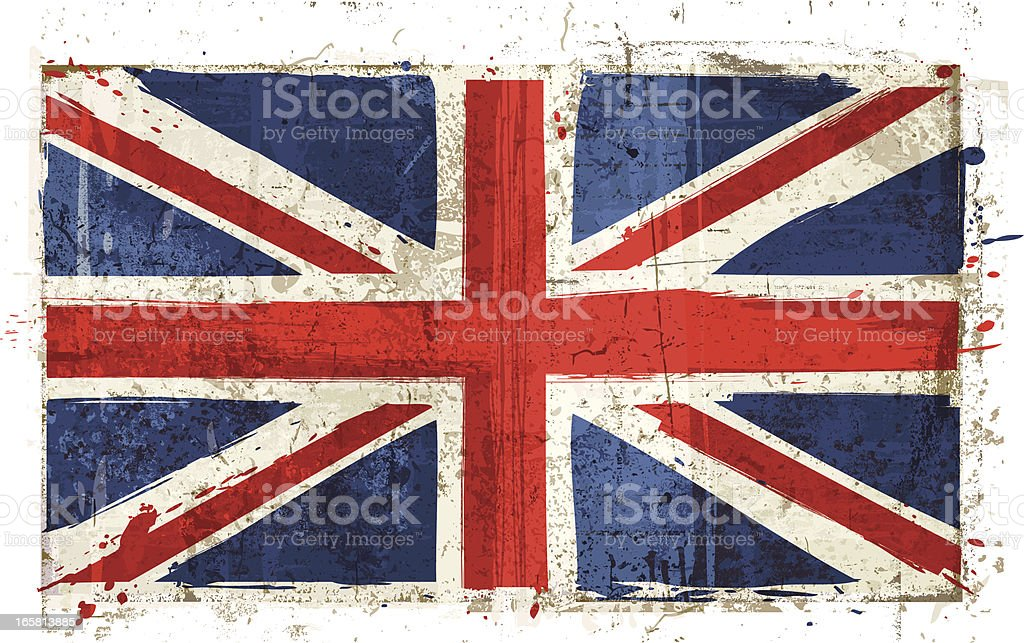 Aged Great Britain Flag vector art illustration