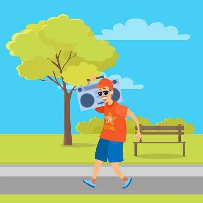 Aged Man Going with Record Player in Park Vector
