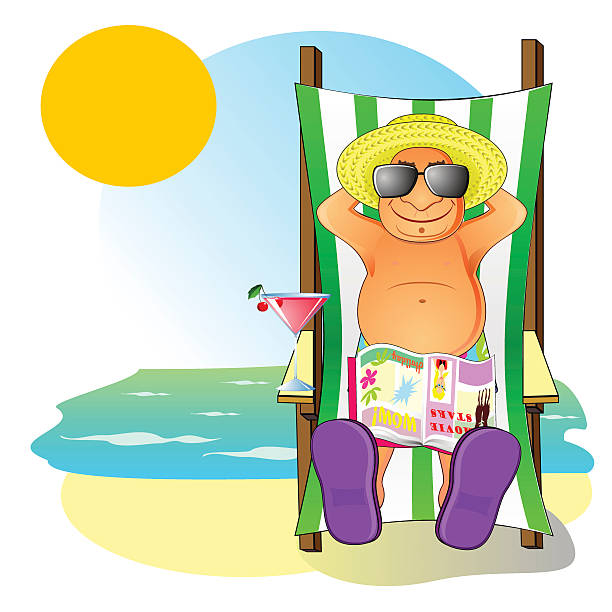 aged man on the beach - old man hat stock illustrations, clip art, cartoons, & icons