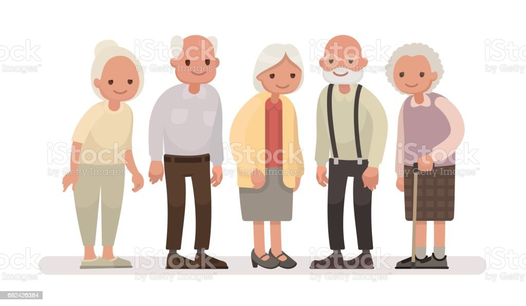 Aged people. Grandparents on a white background. Vector illustration in a flat style vector art illustration