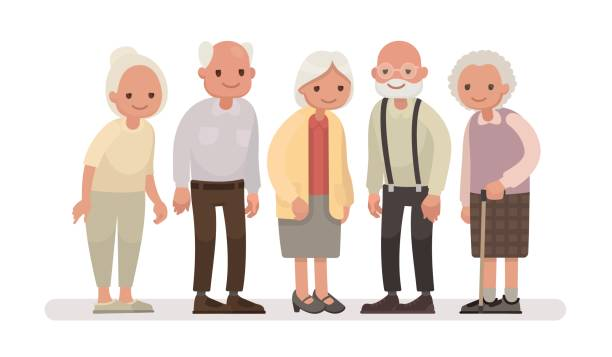 ilustrações de stock, clip art, desenhos animados e ícones de aged people. grandparents on a white background. vector illustration in a flat style - old lady
