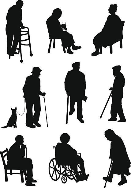 aged people involved in different activities - old man in black stock illustrations, clip art, cartoons, & icons