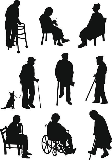ilustrações, clipart, desenhos animados e ícones de idade, as pessoas envolvidas nas diferentes atividades - idoso