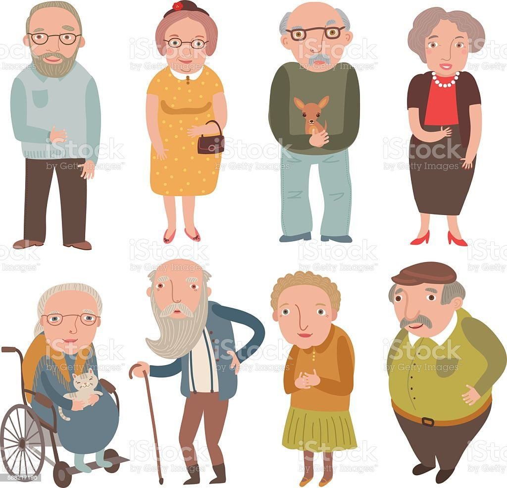 Aged people. Older men and women . Grandmothers and grandfathers - ilustración de arte vectorial