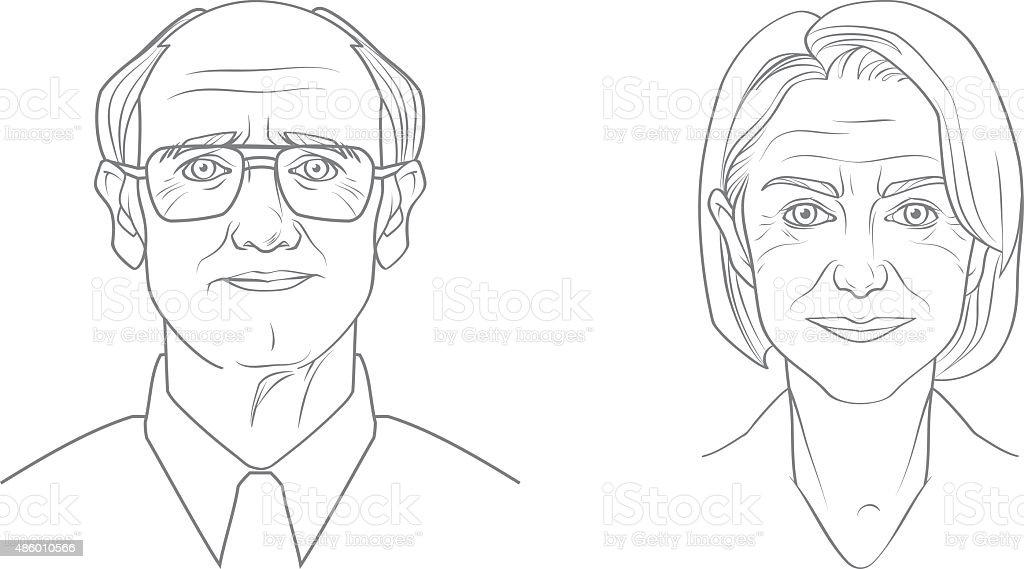 Aged People Portraits vector art illustration