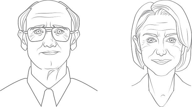 aged people portraits - old man glasses silhouettes stock illustrations, clip art, cartoons, & icons