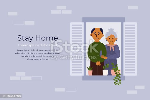 Aged people stay home and looking out of window