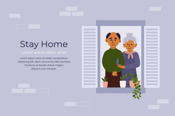 Aged people stay home and looking out of window – artystyczna grafika wektorowa