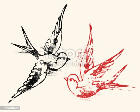 Three individual elements, two swallows and background. One step to recolor each element. Files included AI8 eps and large .jpg