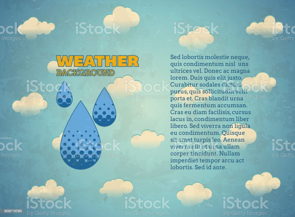Aged vintage card with rain drops royalty-free stock vector art