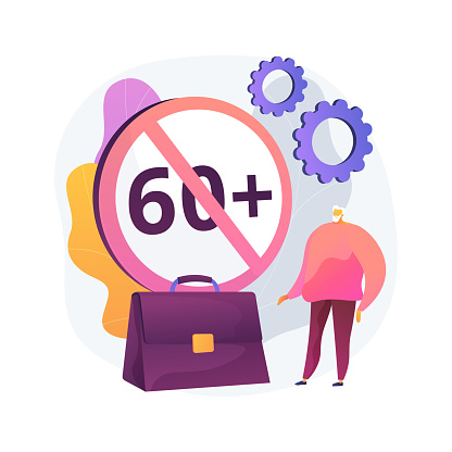 Ageism social problem abstract concept vector illustration. Stop ageism, elderly employment difficulties, discrimination at workplace, older people, negative stereotype abstract metaphor.