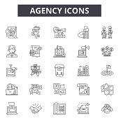 Agency line icons, signs set, vector. Agency outline concept illustration: business,deagency,web,creative,digital,flat