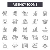 Agency line icons, signs set, vector. Agency outline concept illustration: business,deagency,web,creative,digital,flat