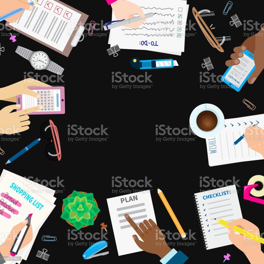 4f251b35f Ilustración de vector de agenda lista concepto establece negocios Nota  ofiice calendario lista lista de comprobación