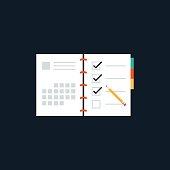 Agenda list flat design icon concept, vector, illustration