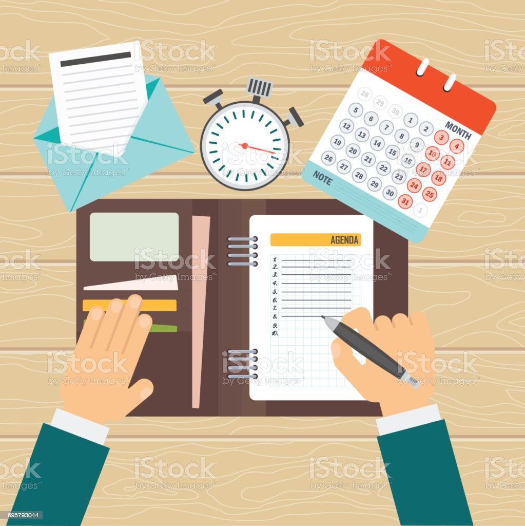 Agenda >> Agenda On Workplace Stock Illustration Download Image Now Istock