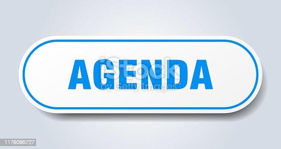agenda sign. agenda rounded blue sticker. agenda