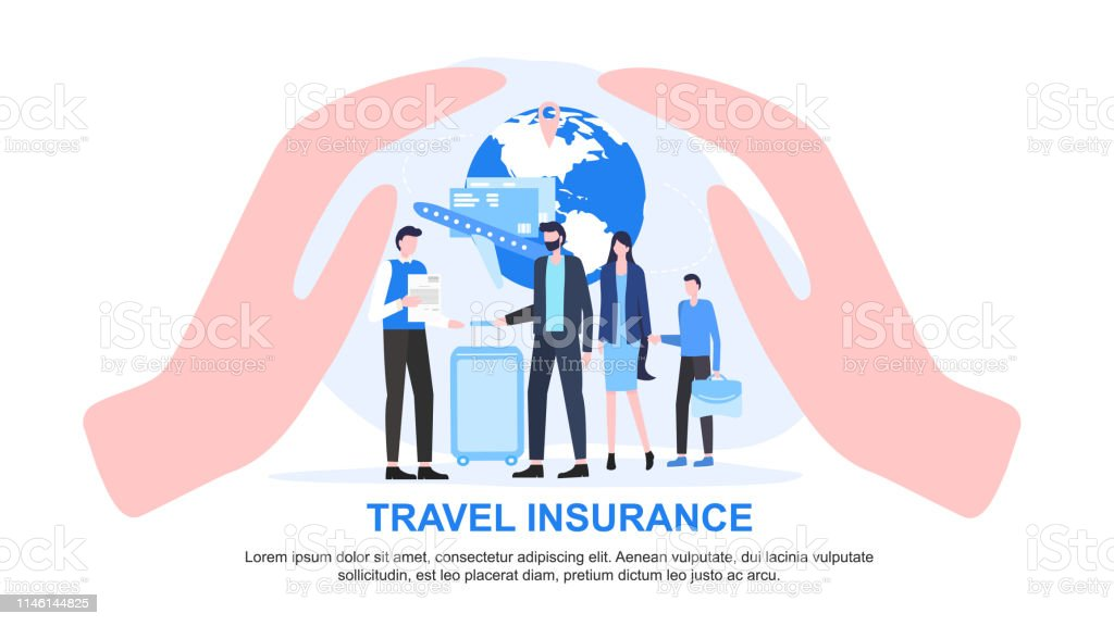 Agent And Family With Luggage Cupped Hand Protect Stock