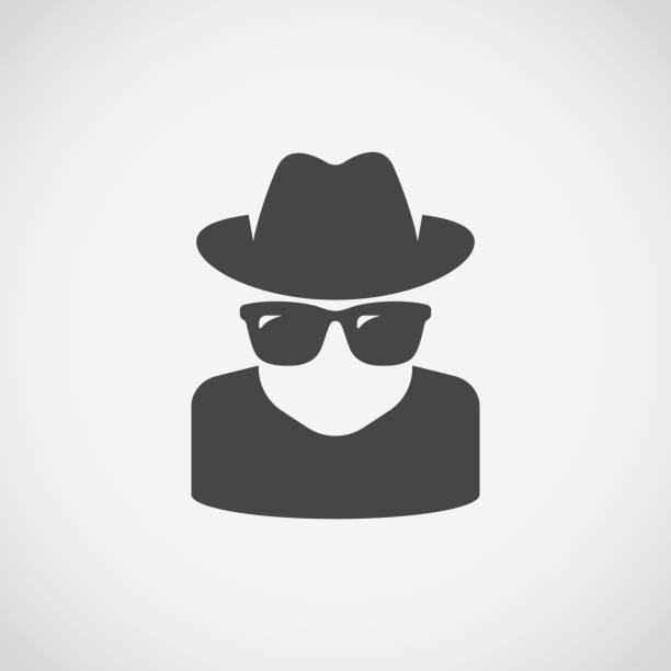 stockillustraties, clipart, cartoons en iconen met pictogram van de agent. spion zonnebril. anonieme - achterdocht