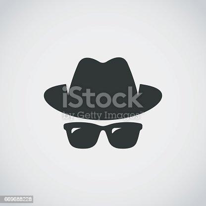 istock Agent icon. Spy sunglasses. Hat and glasses 669688228