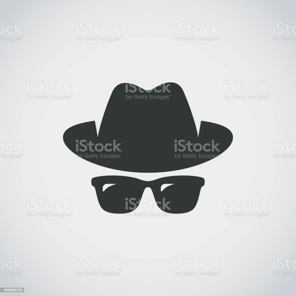 Agent icon. Spy sunglasses. Hat and glasses vector art illustration